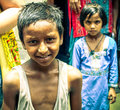 Amroha utter pradesh india unidentified poor people living in slum smiling children Royalty Free Stock Images