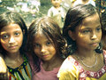 Amroha utter pradesh india unidentified poor people living in slum smiling children Royalty Free Stock Photos