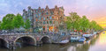 Amstel river, canals of Amsterdam. Netherlands