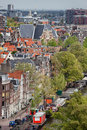 Amsterdam from above city of cityscape view prinsengracht street and canal on the first plan holland the netherlands Royalty Free Stock Photography