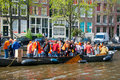 Amsterdam april king s day boating locals have fun on the boats on april in amsterdam the netherlands koningsdag is held every Stock Photos