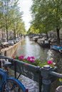 Amsterdam canal beautiful scene in holland Royalty Free Stock Image