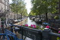 Amsterdam canal beautiful scene in holland Stock Photography