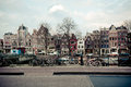 Amsterdam Canal Street view. Horizontal shot Royalty Free Stock Photos