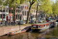 Amsterdam canal waterfront in netherlands Stock Photography