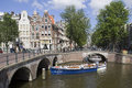 Amsterdam canalboat holland august people in an open canal boat sail under a historic bridge on august in holland Stock Photo