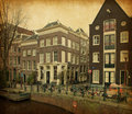 Amsterdam canals photo in retro style paper texture Royalty Free Stock Image