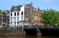 Amsterdam canals and typical dutch houses netherlands may on may in netherlands view of Stock Images