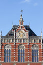 Amsterdam central station architectural details in holland netherlands th century neo renaissance and neo gothic style Stock Photo