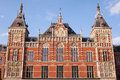 Amsterdam central train station facade in holland netherlands th century neo renaissance and neo gothic styles Royalty Free Stock Photo