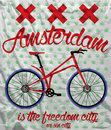 Amsterdam city bike t shirt graphic design man tshiret vector Royalty Free Stock Photography