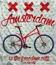 Amsterdam city bike t shirt graphic design man tshiret vector Royalty Free Stock Photography