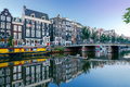 Amsterdam. City Canal at dawn. Royalty Free Stock Photo
