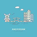 Amsterdam city flat vector illustration