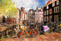Amsterdam city in holland artwork in painting style famous Stock Photos