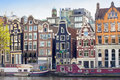 Amsterdam colourful buildings. Royalty Free Stock Photo