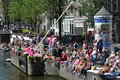 Amsterdam gay pride canal parade last weekend again there was this world famous event in being a symbol for freedom and tolerance Royalty Free Stock Photo