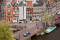 Amsterdam houses from above city of historic row corner of bloemgracht and prinsengracht streets holland netherlands Royalty Free Stock Image