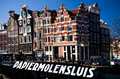 Amsterdam houses near papiermolensluis bridge sunny day Royalty Free Stock Photography