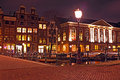 Amsterdam houses in the netherlands by night Stock Photos