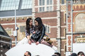 Amsterdam , Netherlands - April 31, 2017 : Asian lady enjoying their holiday on the I Amsterdam letters