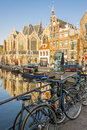Amsterdam netherlands april bicycles in old town of nethe capital on Stock Photos