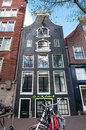 Amsterdam netherlands april tipical amsterdam architecture and appartments with bike in foreground on in Stock Photos