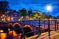 Amsterdam, Netherlands. Bridges with nighttime illumination Royalty Free Stock Photo