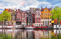 Amsterdam Netherlands dancing houses over river Amstel Royalty Free Stock Photo
