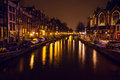 AMSTERDAM, NETHERLANDS - JANUARY 22 2016: City streets of Amsterdam at night. General views of city landscape on January 22, 2016 Royalty Free Stock Photo