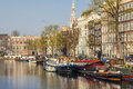 Amsterdam netherlands view on canal in amaster beauty town europe Royalty Free Stock Photo