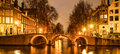 Amsterdam by night. Illuminated bridge over water canal, gracht. Netherlands. Royalty Free Stock Photo