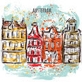 Amsterdam. Old historic buildings and canal. Traditional architecture of Netherlands. Colorful hand drawn grunge style art.