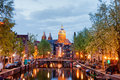 Amsterdam red light district in the evening at dusk netherlands north holland province Stock Photography