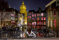 Amsterdam Red Light District at night, Singel Canal Royalty Free Stock Photo