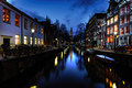 Amsterdam's canal at night