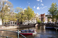Amsterdam scene in the old town of netherlands Royalty Free Stock Image