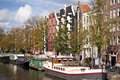 Amsterdam scene in the old town of netherlands Royalty Free Stock Images