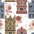 Amsterdam. Seamless pattern with historic buildings and traditional architecture of Netherlands. Royalty Free Stock Photo
