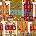 Amsterdam. Seamless pattern with old historic buildings Traditional architecture of Netherlands. Royalty Free Stock Photo