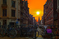 Amsterdam sunset Royalty Free Stock Photo