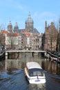 Amsterdam Tour Boats Stock Photos