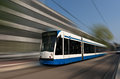 Amsterdam tramway in motion netherlands Royalty Free Stock Images