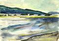 Amur view of the right bank of the river watercolor Royalty Free Stock Photo