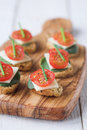 Amuse bouche bruschetta biscuits with tomato spinach cheese a chive garnish shallow dof Stock Photography