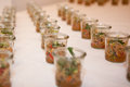 Amuse bouche for a party presented on a table Royalty Free Stock Photo