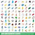 100 amusement icons set, isometric 3d style