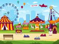 stock image of  Amusement park. Attractions entertainment joyful amuse carnival fun circus carousel game funfair landscape background