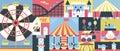 Amusement park background flat Royalty Free Stock Photo