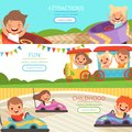 Amusement park banners. Family and happy kids walking and playing games in different attractions vector cartoon template